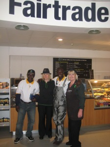 James and Anane with the Co-op cafe staff in Keynsham