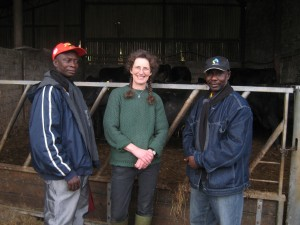 Anane and James with Lesley Bowes and her Aberdeen Angus cows