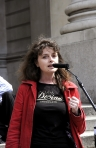 Sophi speaks on the steps of the Royal Exchange