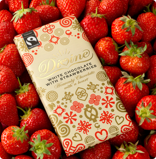 Divine White Chocolate with real strawberries