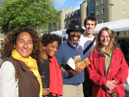 The Wire's Clarke Peters and his family meet Tania at Fair Trade on the Fringe in Edinburgh