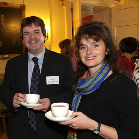 Sophi Tranchell with Brad Hill of The Co-operative taking tea at Downing Street