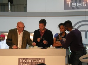 Gregg Wallace, John Torode, Andi Peters try the winners dish
