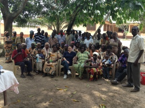 Kerry McCarthy MP with cocoa farmers in Kukurantumi