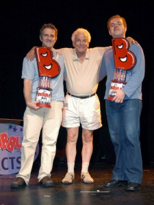 Barry Cryer presents Laurence and Gus with their Dubble Act Award