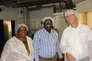 Christiana Ohene-Agyare, Emmanuel Arthur and Andy Goode - happy in the chocolate factory!