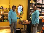 Sampling Divine at Liberty's chocolate shop