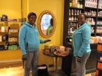 Sampling Divine at Liberty's chocolate shop