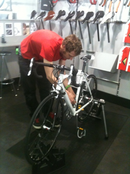 James at Condor sorting out a bike for me