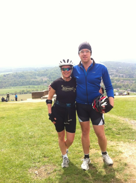 Reaching the top of Box Hill!